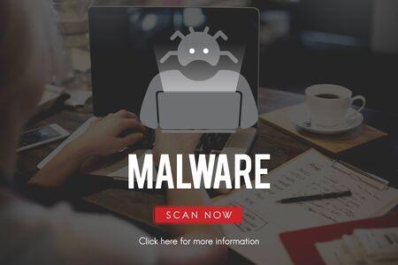 scam: Spyware Malware Scam Spam Virus Concept Stock Photo