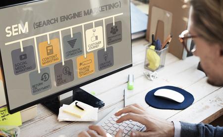 Search Engine Marketing Online Cyfrowy Concept Zdjęcie Seryjne