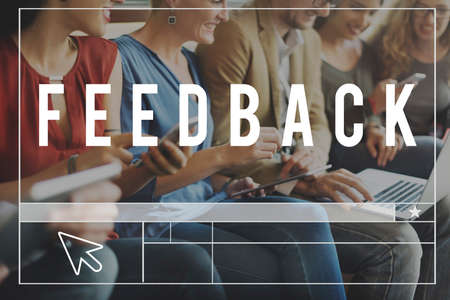 socialise: Feedback Opinion Review Survey Communication concept Stock Photo