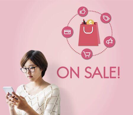 web shopping: Buying Consumerism Discount Merchandising Shopping Concept Stock Photo