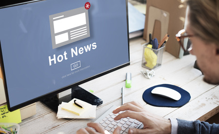 hot news: Hot News Announcement Broadcast Article Concept Stock Photo