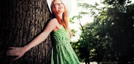adolescence: Cute Adolescence Pretty Outdoor Park Portrait Concept Stock Photo