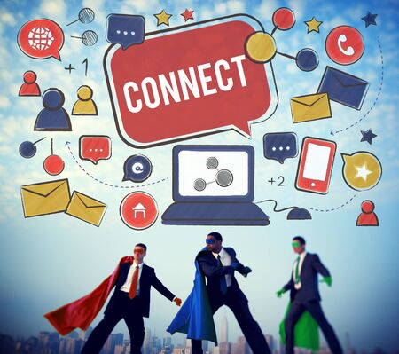 joining forces: Connect Social Networking Contact Interconnection Technology Concept Stock Photo