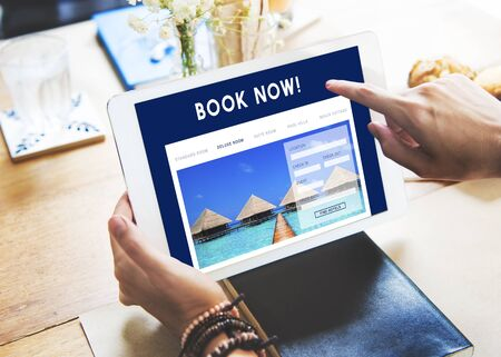 Holiday Reservation Website Interface Concept Stock Photo