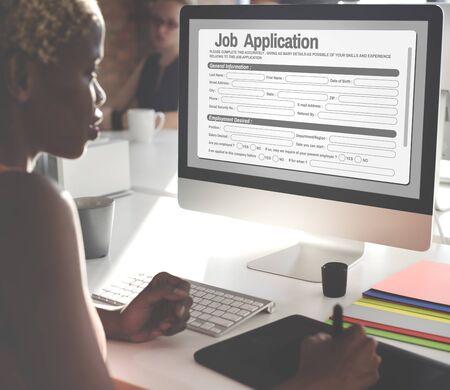 detail internet computer: Online Web Job Application Form Concept