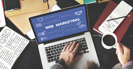 Web marketing concept in a laptop