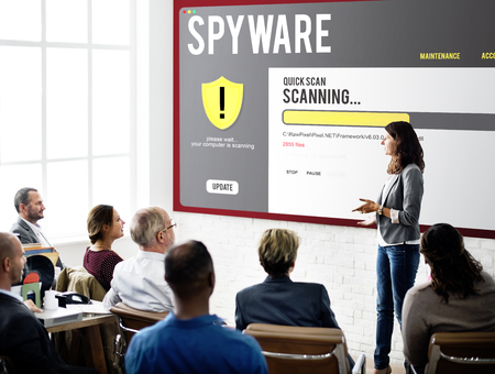 Woman presenting about spyware Stock Photo