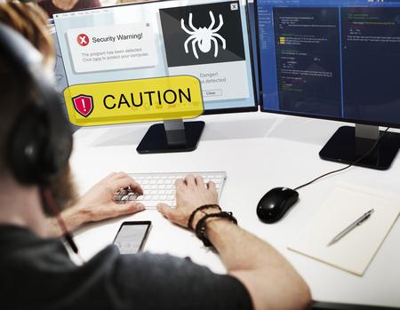 Virus caution alert in a computer