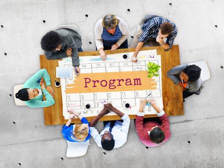asian business group: Program Agenda Planner Reminder Calendar To Do Concept