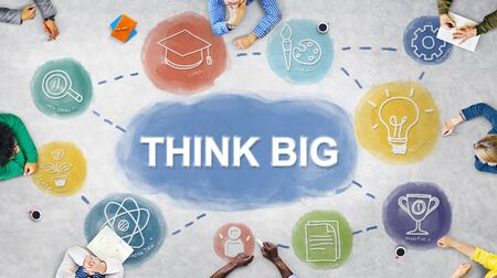 learning new skills: Creative Think Big Brainstorming Graphic Concept