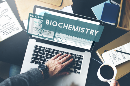 Biochemistry concept in a laptop Stock Photo