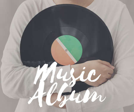 Female Holding Vinyl Music Graphic Concept Stock Photo