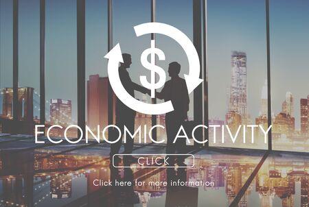 economic activity: Economic Activity Business Cycle Financial Concept Stock Photo