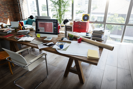 Home Office Window Wooden Table Workplace Concept