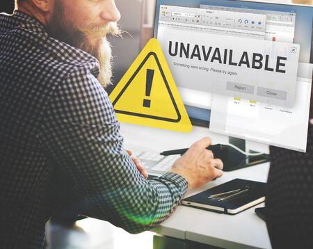 failed plan: Unavailable Unable Connect Notification Concept