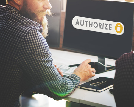 accessible: Authorize Accessible Permission Verification Security Concept Stock Photo