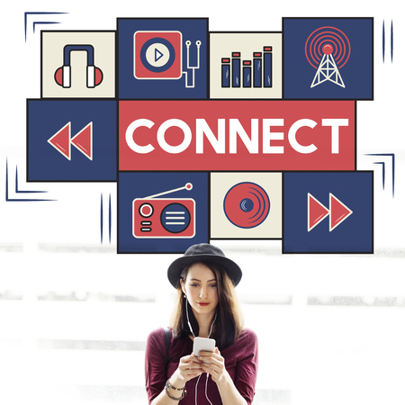 boardcast: Connect Music Digital Audio Technology Concept Stock Photo