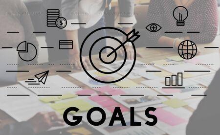 bulls eye: Bulls Eye Goal Mission Icon Graphics Concept Stock Photo