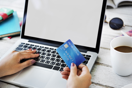 holiday spending: Mockup Copyspace Credit Card Payment Online Concept