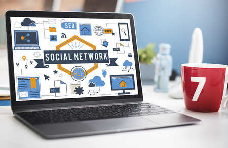 Social network concept on a laptop Stock Photo