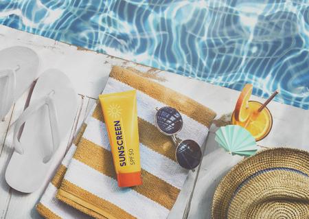 chill: Summer Pool Sunglasses Sunscreen Chill Hat Concept