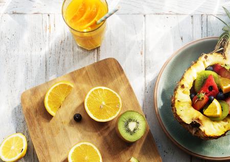 tropica: Oranges Strawberry Kiwi Pineapple Fruits Tropica Juices Concept Stock Photo