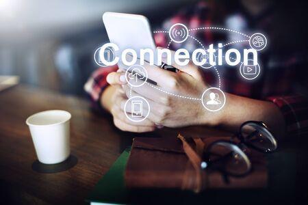 mobile internet: Trends Share Interact Internet Word Concept Stock Photo