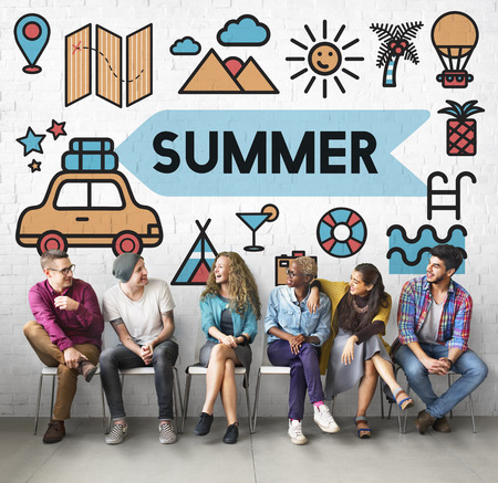 Group of people with summer concept