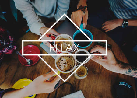 caffeinated: Happy Live Life Enjoyment Relax Concept Stock Photo