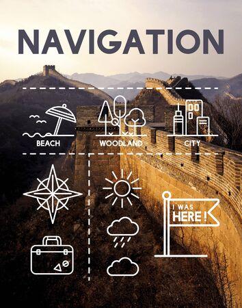 Lieu Mapping Journey Concept Navigation Banque d'images - 60569818
