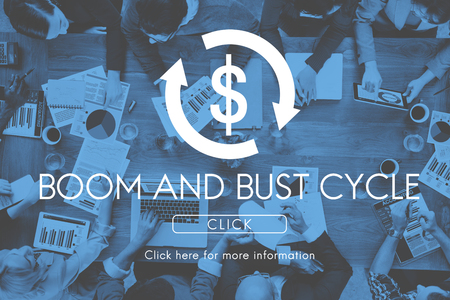 Boom Bust Cycle Economy Financial Concept Stock Photo