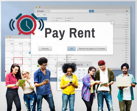 Renting: Pay Rent Leasable Real Estate Renting Available Concept Stock Photo