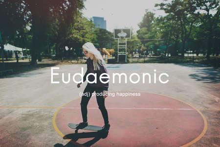 carefree: Eudaemonic Happiness Enjoyment Cheerful Carefree Concept Stock Photo