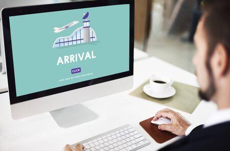 business trip: Arrival Business Trip Flights Travel Information Concept