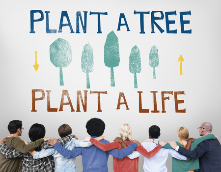 huddle: Plant A Tree Life Ecology Concept Stock Photo