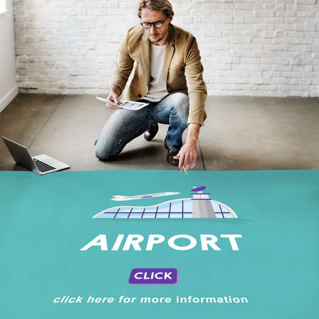aircraft take off: Airport Business Trip Flights Travel Information Concept Stock Photo