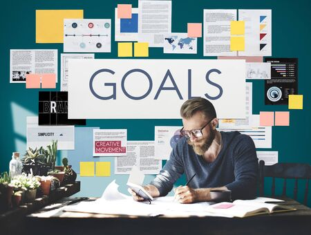 man business oriented: Goals Aspirations Inspiration Mission Target Concept Stock Photo