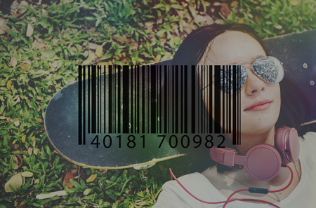 woman lying down: Barcode Mark Sign Market Item Concept Stock Photo