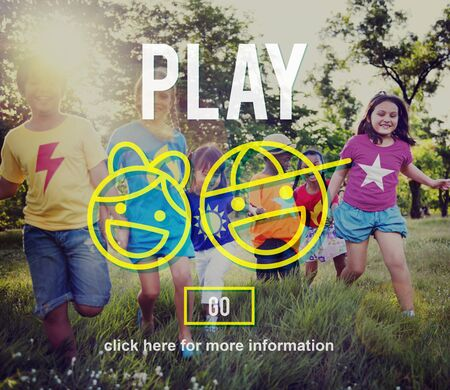 elementary age: Play Fun Amusement Happiness Activity Playground Concept Stock Photo