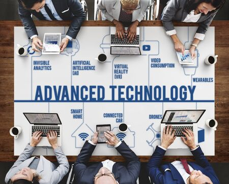 advanced technology: Advanced Technology Connected Drones Technology Concept Stock Photo