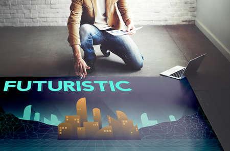 estate planning: Furutistic Future Plan Urban Structure Concept Stock Photo