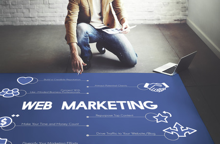 Web marketing concept with man on floor