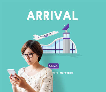airplane take off: Arrival Business Trip Flights Travel Information Concept