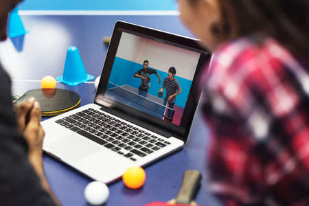 pratice: Activity Friends Playing Tabletennis Concept