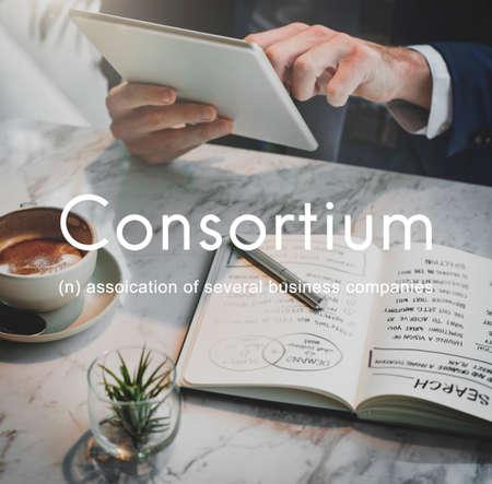 cooperativismo: Consorcio Alianza Cooperativa Combine Concept Group Foto de archivo