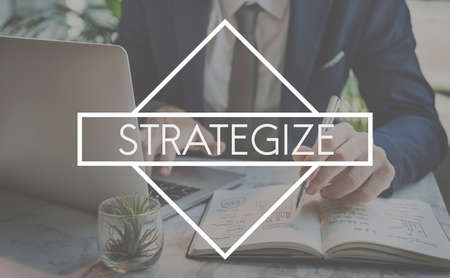strategize: Strategize Strategy Planning Vision Process Concept Stock Photo