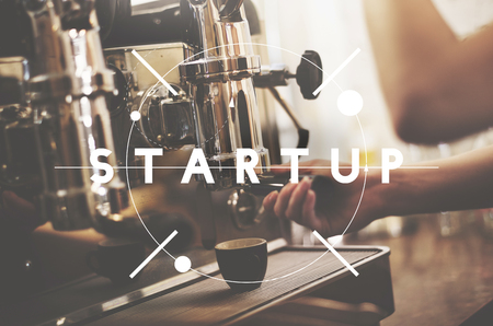 Startup concept with coffee maker 写真素材 - 110597274
