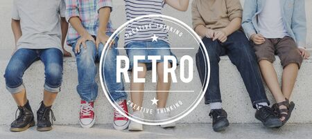 oldschool: Retro Classic Style Oldschool Flashback Memory Concept Stock Photo