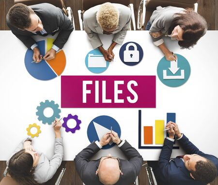 data archiving: Files Document Technology System Storage Concept Stock Photo