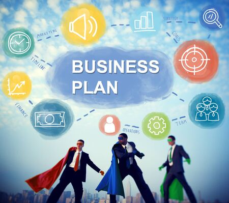 business team: Business Plan Superhero Team Concept